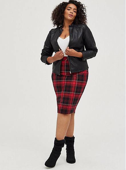 Red & Black Plaid Stretch Ponte Pencil Skirt, PLAID - RED, alternate