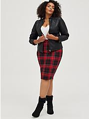 Red & Black Plaid Stretch Ponte Pencil Skirt, PLAID - RED, alternate
