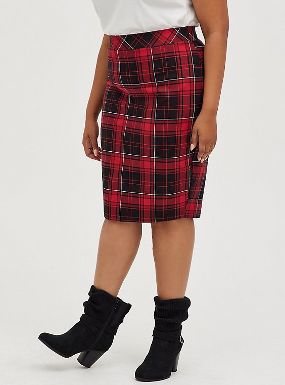 Red & Black Plaid Stretch Ponte Pencil Skirt, PLAID - RED, hi-res
