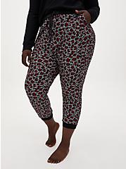 Classic Fit Crop Sleep Jogger - Fleece Leopard Black, MULTI, alternate