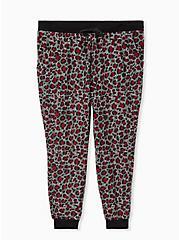 Classic Fit Crop Sleep Jogger - Fleece Leopard Black, MULTI, hi-res