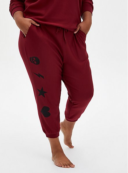 Red & Black Graphic Drawstring Sleep Jogger, RED, alternate