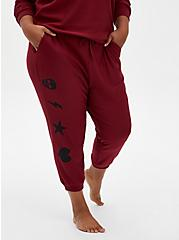 Classic Fit Crop Sleep Jogger - Fleece Red & Black, RED, alternate