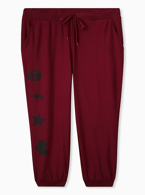Red & Black Graphic Drawstring Sleep Jogger, , flat