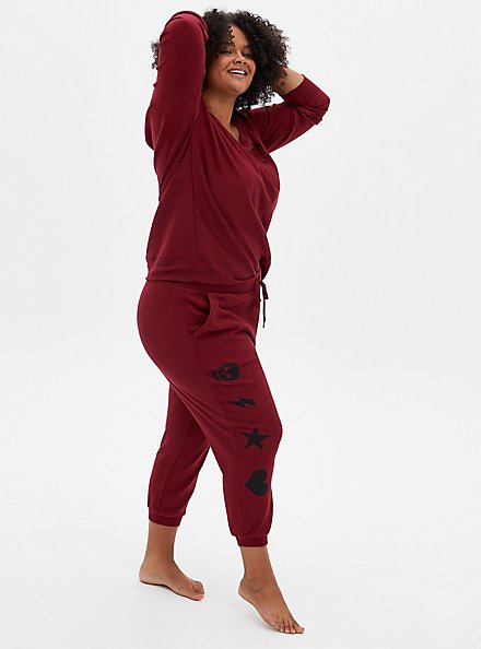 Red & Black Graphic Drawstring Sleep Jogger, RED, hi-res