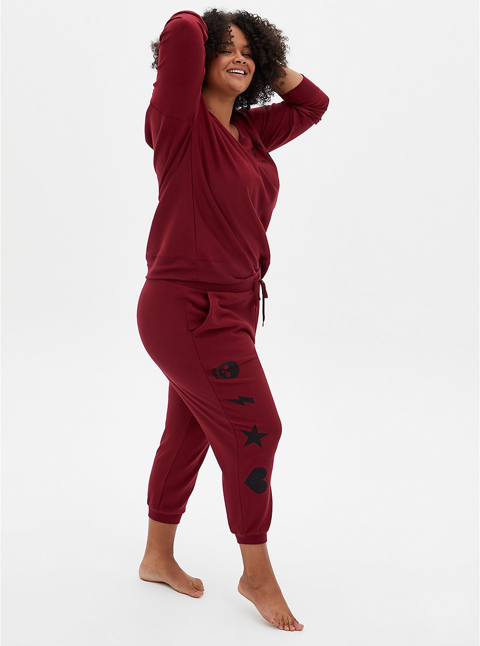 Red & Black Graphic Drawstring Sleep Jogger, , hi-res
