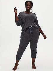Super Soft Plush Charcoal Grey Drop Shoulder Sleep Tee, CHARCOAL  GREY, alternate