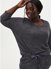 Super Soft Plush Charcoal Grey Drop Shoulder Sleep Tee, CHARCOAL  GREY, hi-res