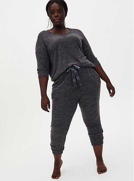 Classic Fit Crop Sleep Jogger - Super Soft Plush Charcoal Grey, CHARCOAL  GREY, alternate