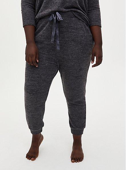 Classic Fit Crop Sleep Jogger - Super Soft Plush Charcoal Grey, CHARCOAL  GREY, hi-res