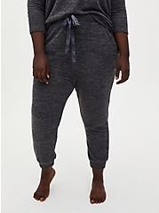 Plus Size Classic Fit Crop Sleep Jogger - Super Soft Plush Charcoal Grey, CHARCOAL  GREY, hi-res