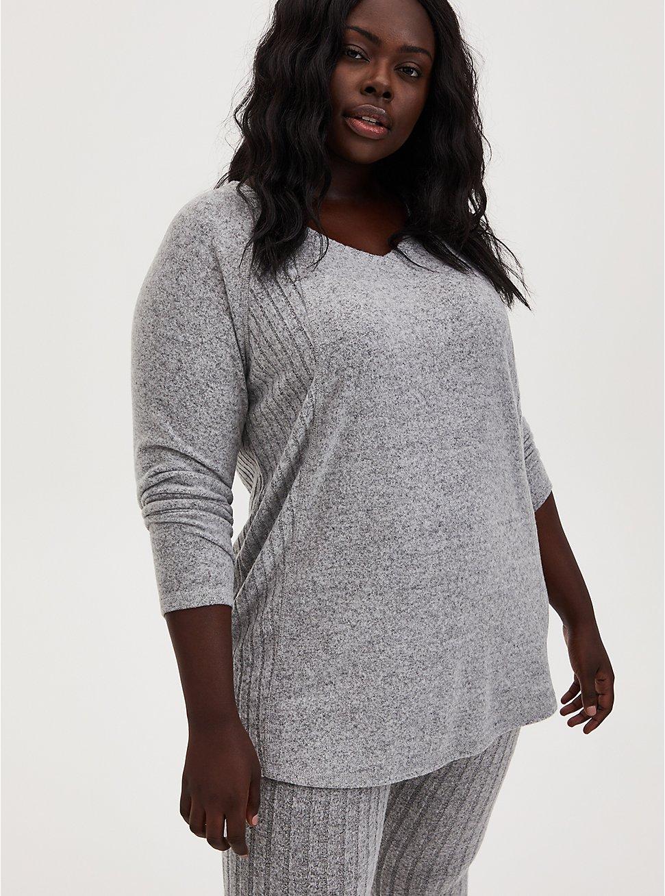 Super Soft Plush Light Grey Long Sleeve Sleep Tee, GREY, hi-res