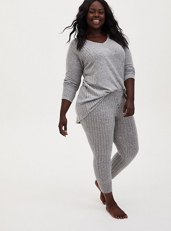 Super Soft Plush Rib Light Grey Sleep Jogger, GREY, hi-res