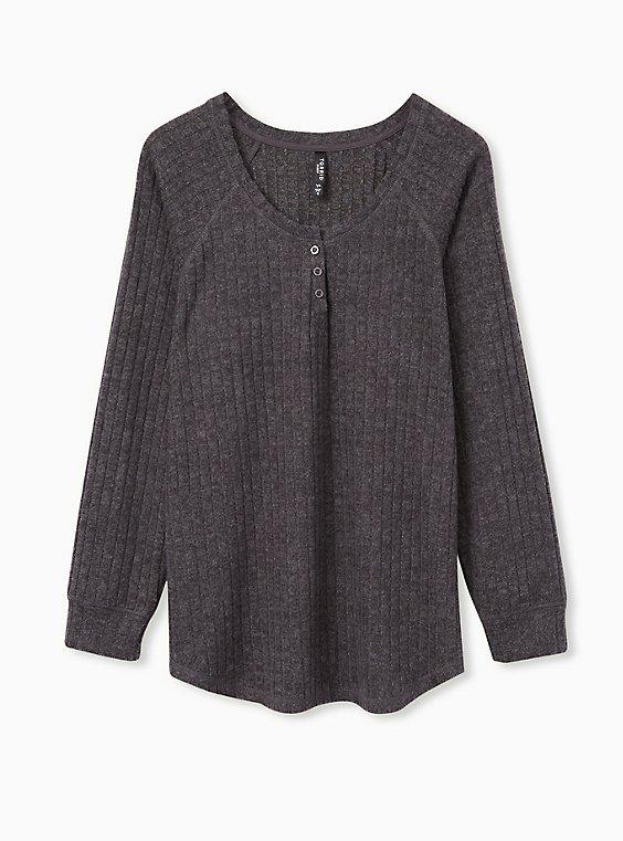 Super Soft Plush Charcoal Grey Brushed Rib Henley Sleep Tee, , flat