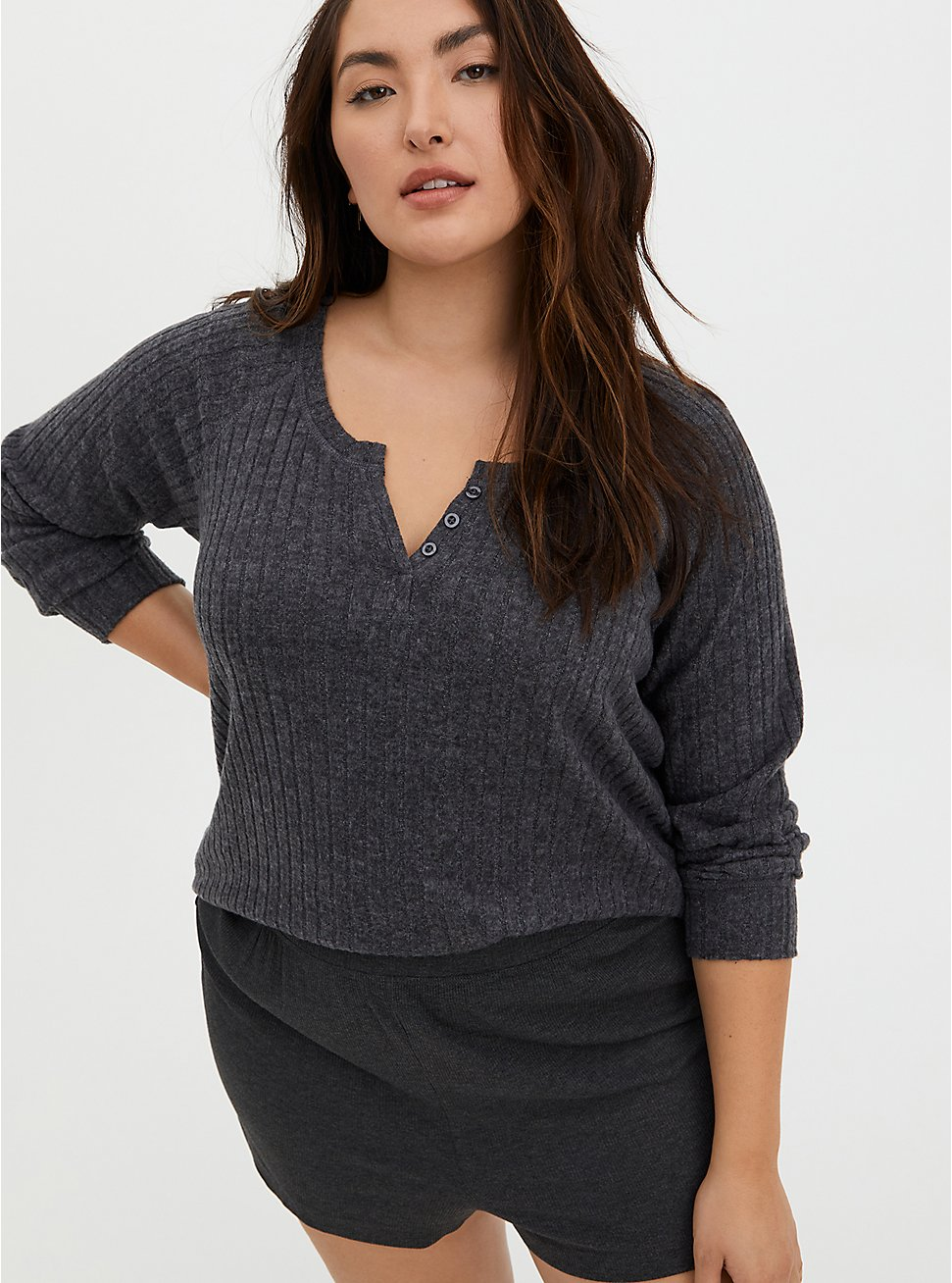 Super Soft Plush Charcoal Grey Brushed Rib Henley Sleep Tee, CHARCOAL  GREY, hi-res