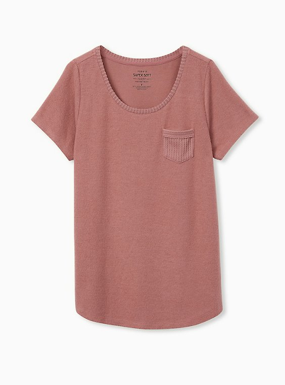 Super Soft Plush Light Pink Pocket Sleep Tee, , flat