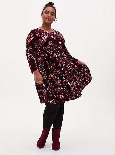 Burgundy Floral Velvet Ladder Neck Dress, FLORALS-BURGUNDY, alternate