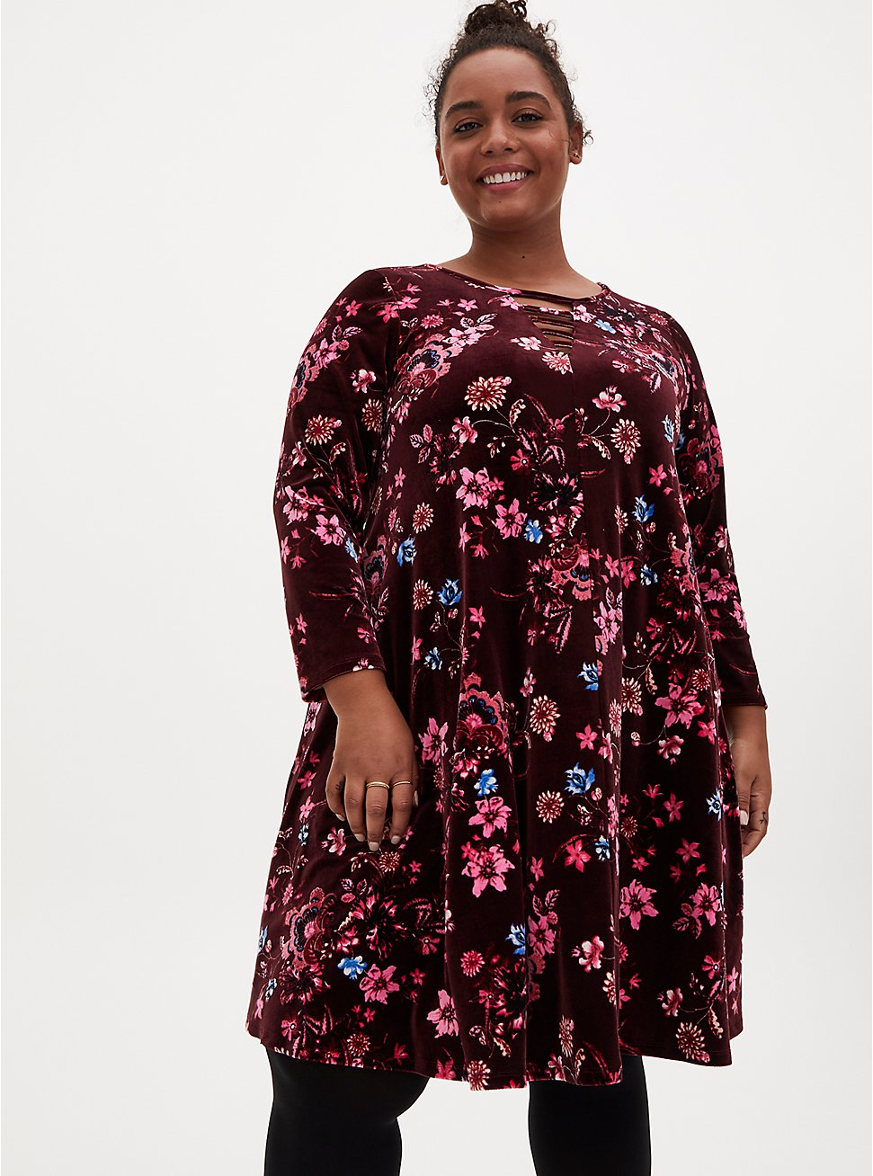 Burgundy Floral Velvet Ladder Neck Dress, FLORALS-BURGUNDY, hi-res