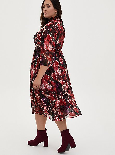 Burgundy Purple Floral Chiffon Mock Neck Midi Dress, FLORALS-BURGUNDY, alternate