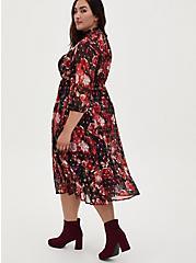 Burgundy Purple Floral Chiffon Mock Neck Midi Dress, FLORALS-BURGUNDY, alternate
