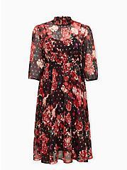 Burgundy Purple Floral Chiffon Mock Neck Midi Dress, FLORALS-BURGUNDY, hi-res