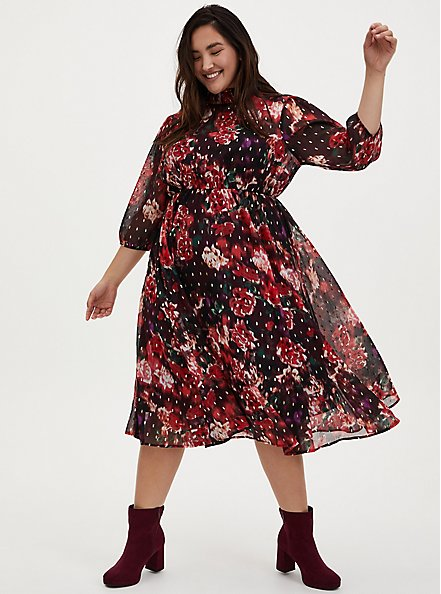 Burgundy Purple Floral Chiffon Mock Neck Midi Dress, FLORALS-BURGUNDY, hi-res