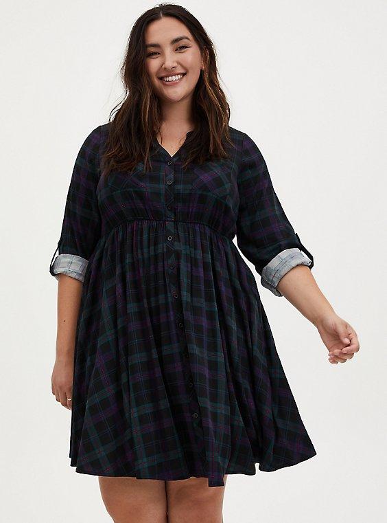 Green Plaid Challis Shirred Shirt Dress, , hi-res