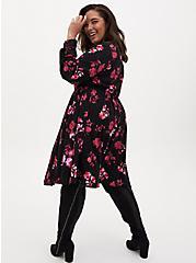 Black Floral Challis Shirred Shirt Dress, FLORALS-BLACK, alternate