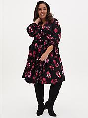 Black Floral Challis Shirred Shirt Dress, FLORALS-BLACK, hi-res