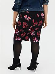 Black Floral Stretch Ponte Pencil Skirt, FLORALS-BLACK, alternate
