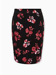 Black Floral Stretch Ponte Pencil Skirt, FLORALS-BLACK, hi-res