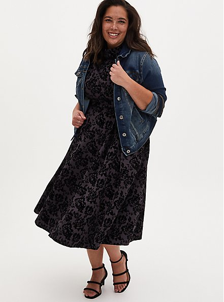 Grey Floral Scuba Knit Mock Neck Midi Skater Dress, FLORALS-GREY, alternate