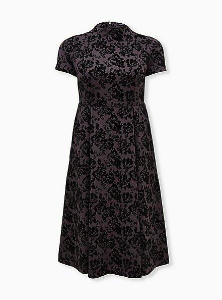 Grey Floral Scuba Knit Mock Neck Midi Skater Dress, FLORALS-GREY, hi-res