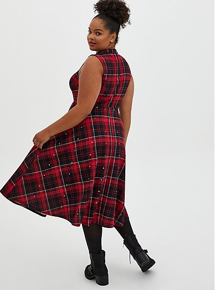 Red Plaid Scuba Knit Mock Neck Midi Skater Dress, PLAID - RED, alternate