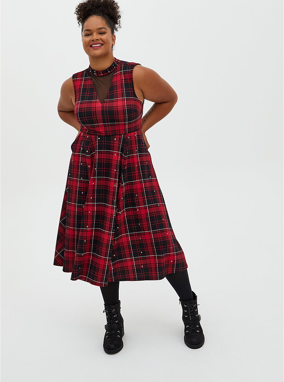 Red Plaid Scuba Knit Mock Neck Midi Skater Dress, PLAID - RED, hi-res