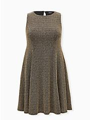 Black & Gold Shimmer A-Line Dress, BLACK GOLD, hi-res