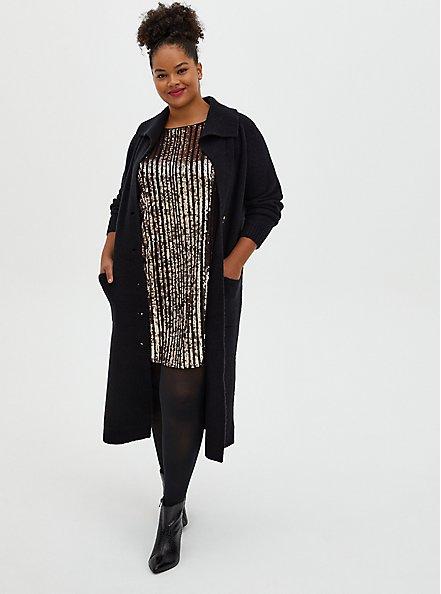 Black & Gold Sequin A-Line Dress, CHAMPANGE METALLIC, alternate
