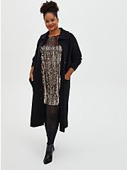 Black & Gold Sequin Fluted Dress, CHAMPANGE METALLIC, alternate