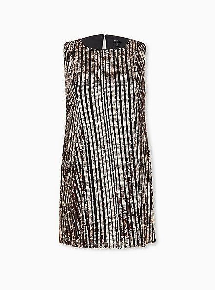 Black & Gold Sequin A-Line Dress, CHAMPANGE METALLIC, hi-res