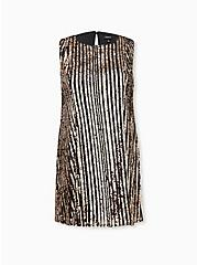 Black & Gold Sequin Fluted Dress, CHAMPANGE METALLIC, hi-res