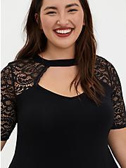 Super Soft Black Lace Sleeve Midi Dress, DEEP BLACK, alternate