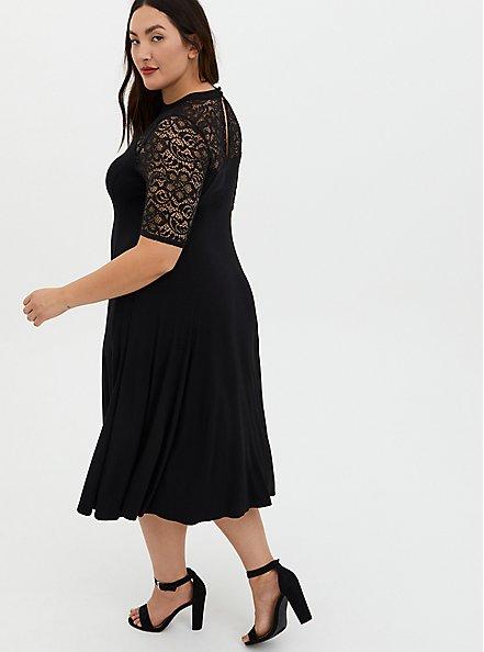 Plus Size Super Soft Black Lace Sleeve Midi Dress, DEEP BLACK, alternate
