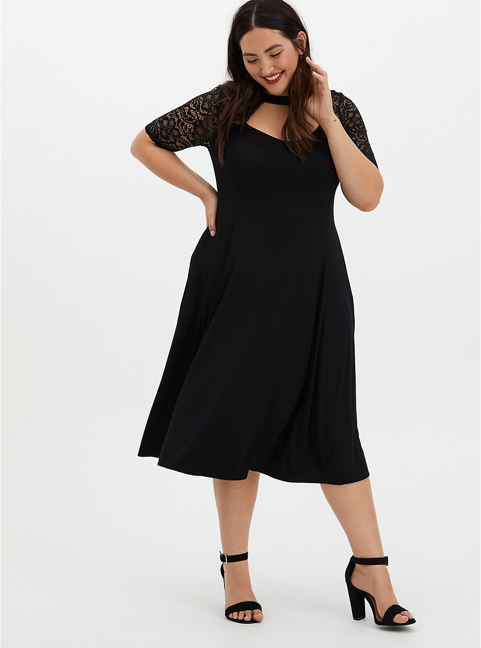Plus Size Super Soft Black Lace Sleeve Midi Dress, DEEP BLACK, hi-res