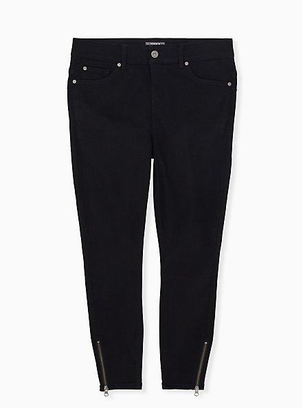 Bombshell Skinny Jean -Super Soft Black Ankle Zip, BLACK, hi-res