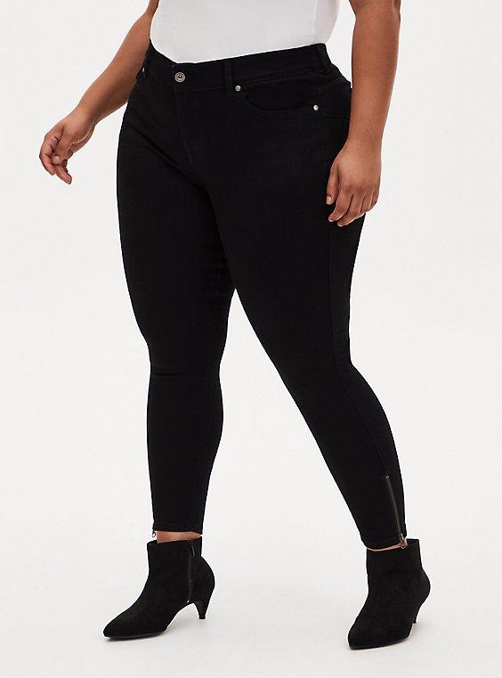 Bombshell Skinny Jean -Super Soft Black Ankle Zip, , hi-res
