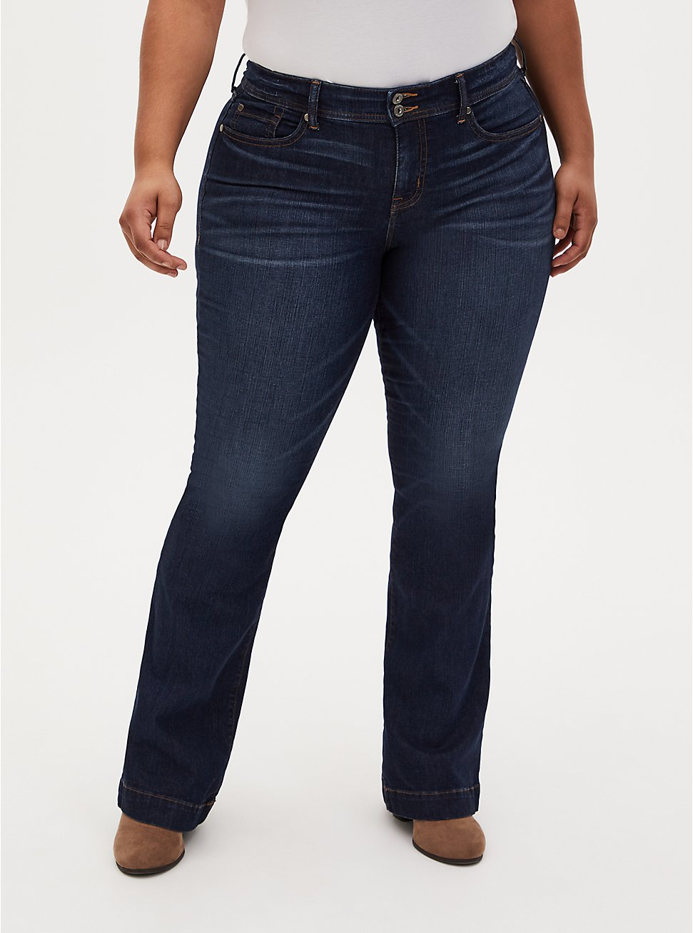 Mid Rise Flare Jean - Vintage Stretch Dark Wash, KEEP IT 100, hi-res