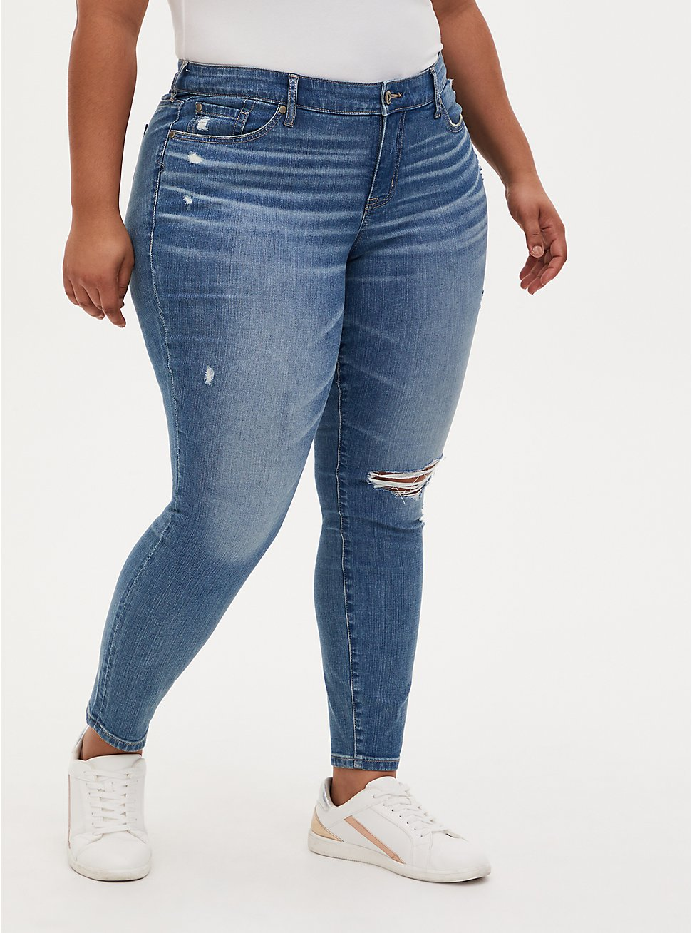 Mid Rise Skinny Jean - Vintage Stretch Medium Wash, KARMA, hi-res