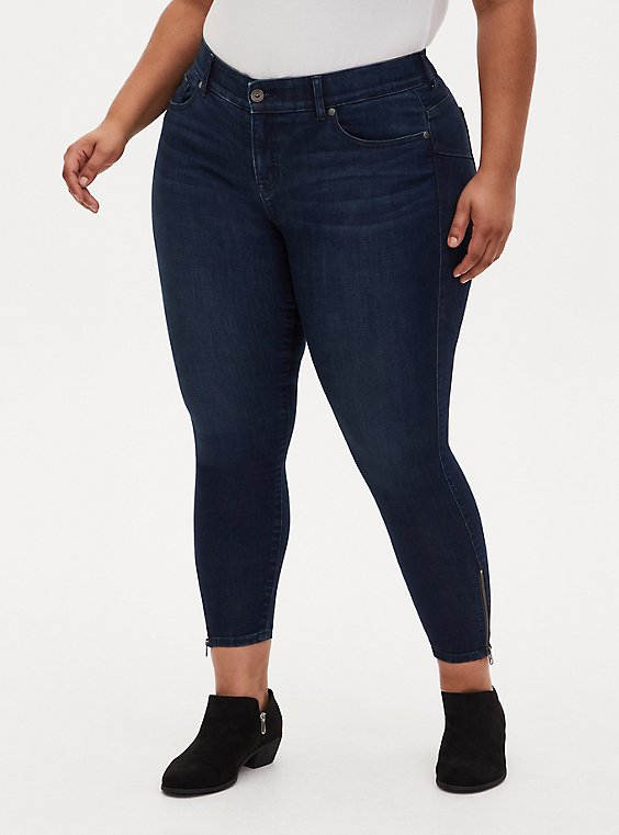 Bombshell Skinny Jean - Super Soft Dark Wash Ankle Zip, BASIN, hi-res