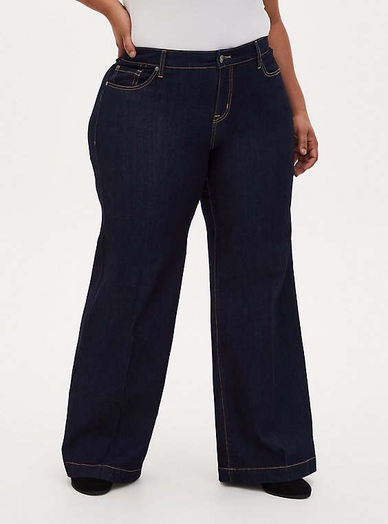High Rise Wide Leg Jean - Vintage Stretch Dark Wash, , hi-res