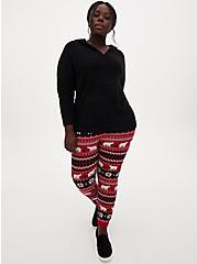 Black Fuzzy Knit Teddy Hoodie, DEEP BLACK, alternate